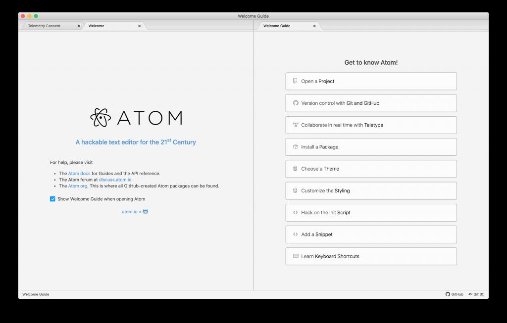 Pantalla inicial de Atom