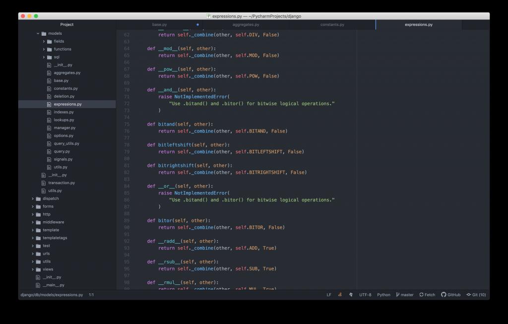 Editando código de Python en Atom con fondo oscuro