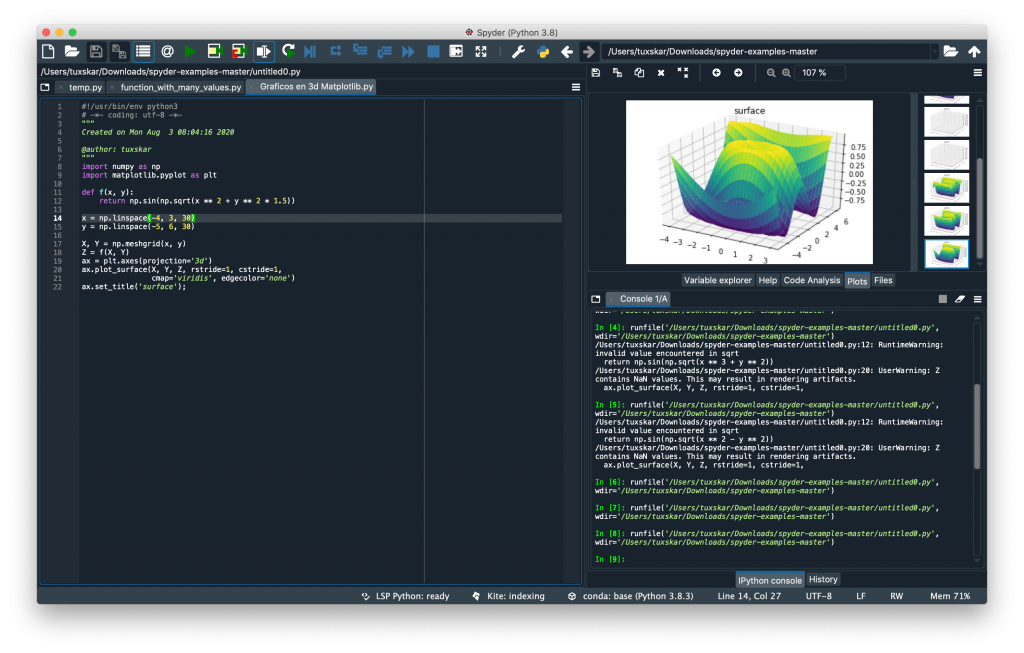Mostrando graficos en 3D co spyder y python