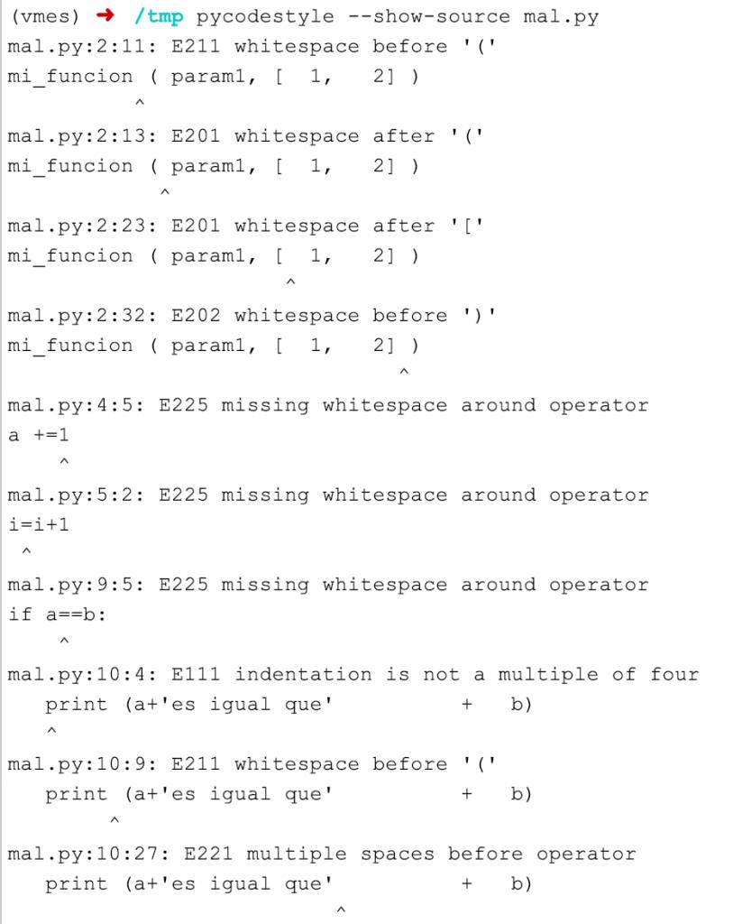pep 8 linter con codigo fuente