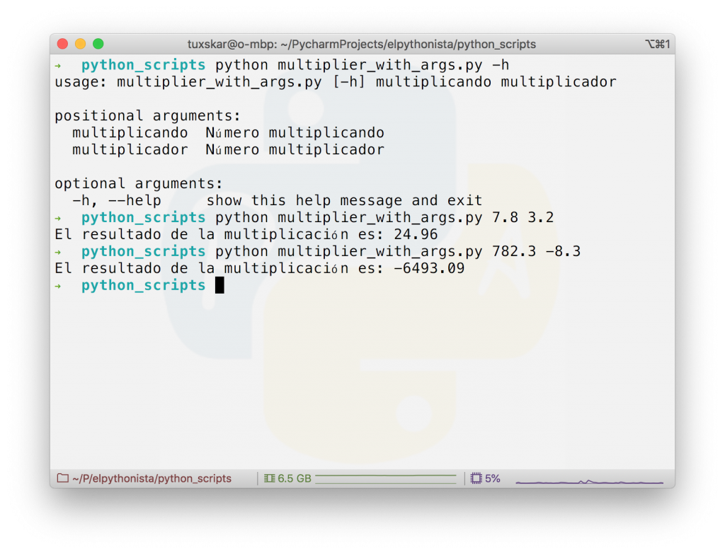 Script Python argparse