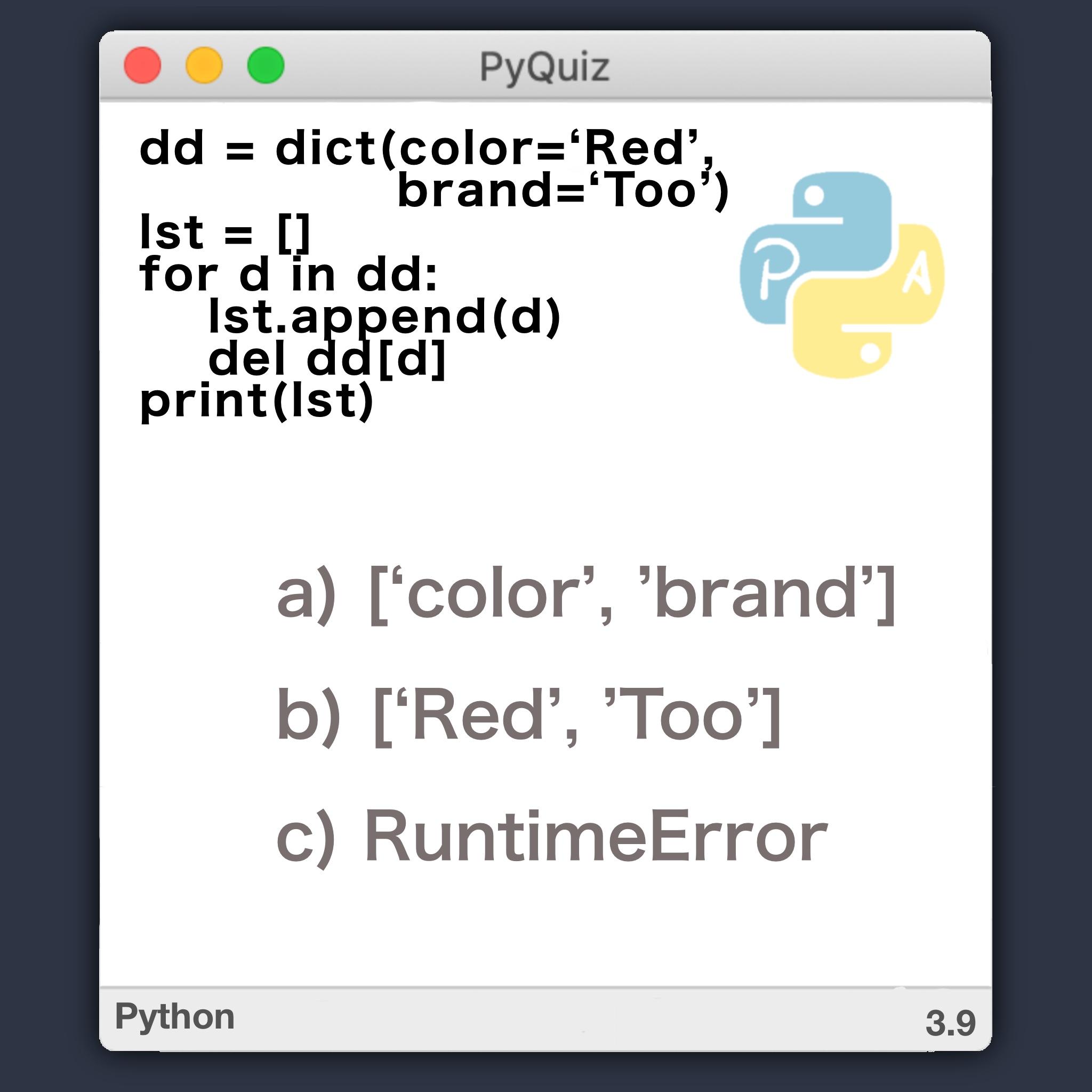 PyQuiz 3 - modificando diccionario mientras se itera