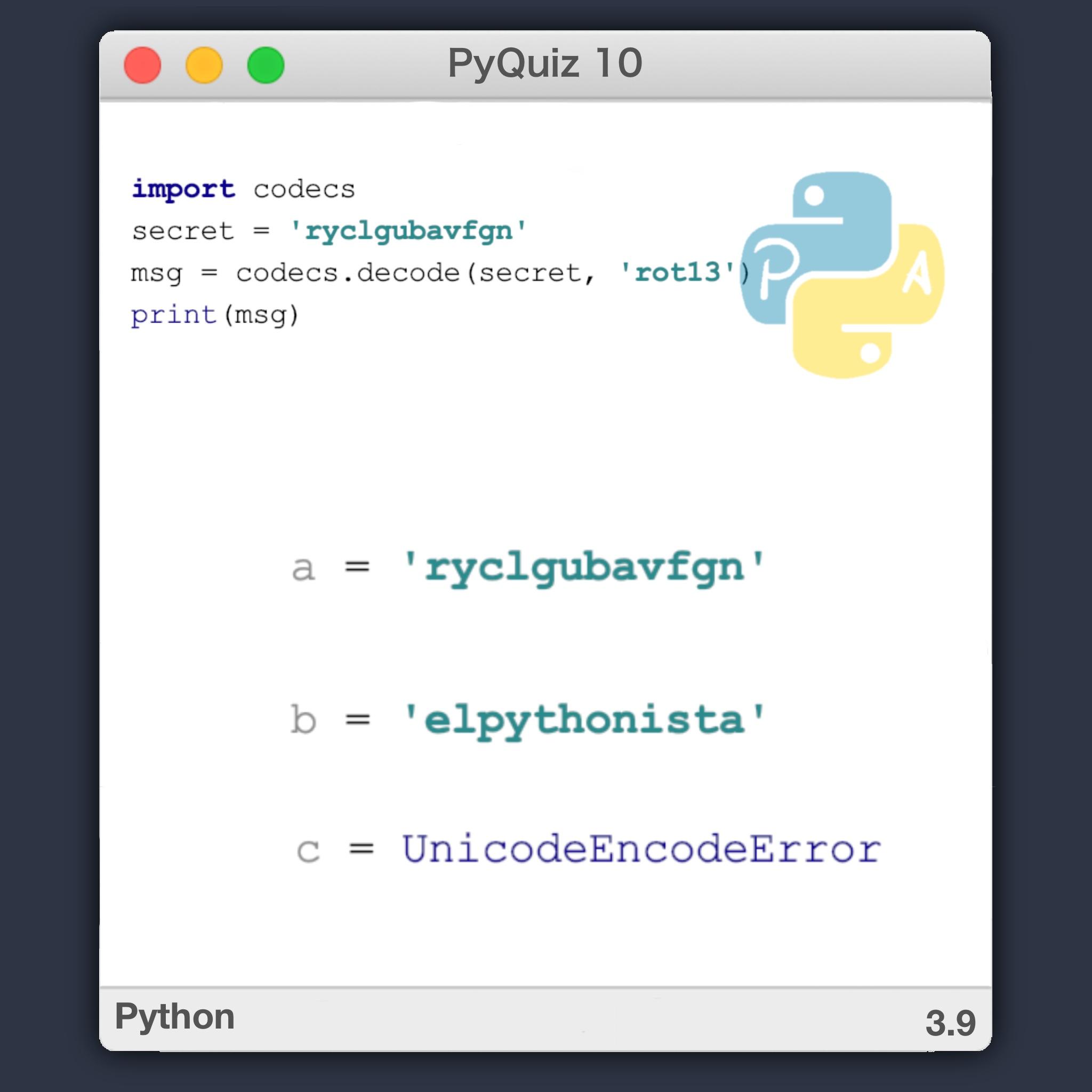 PyQuiz 10 - Cómo codificar en ROT13 en Python