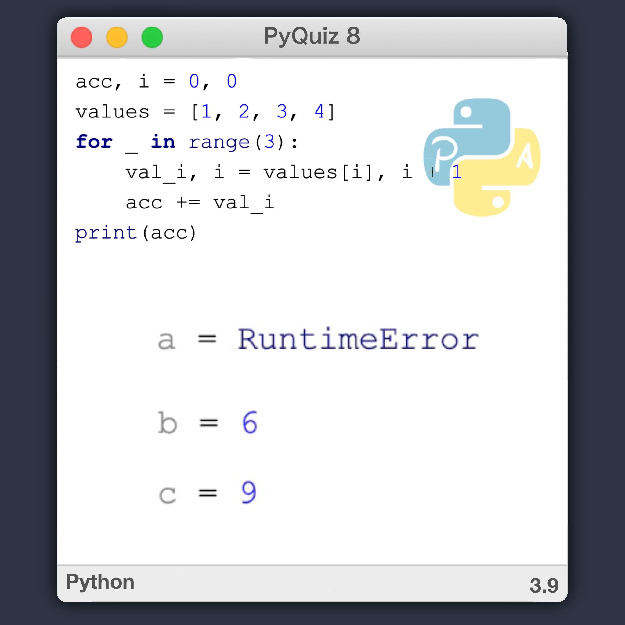 Python Quiz 8 – Asignación múltiple y actualización de índices en Python