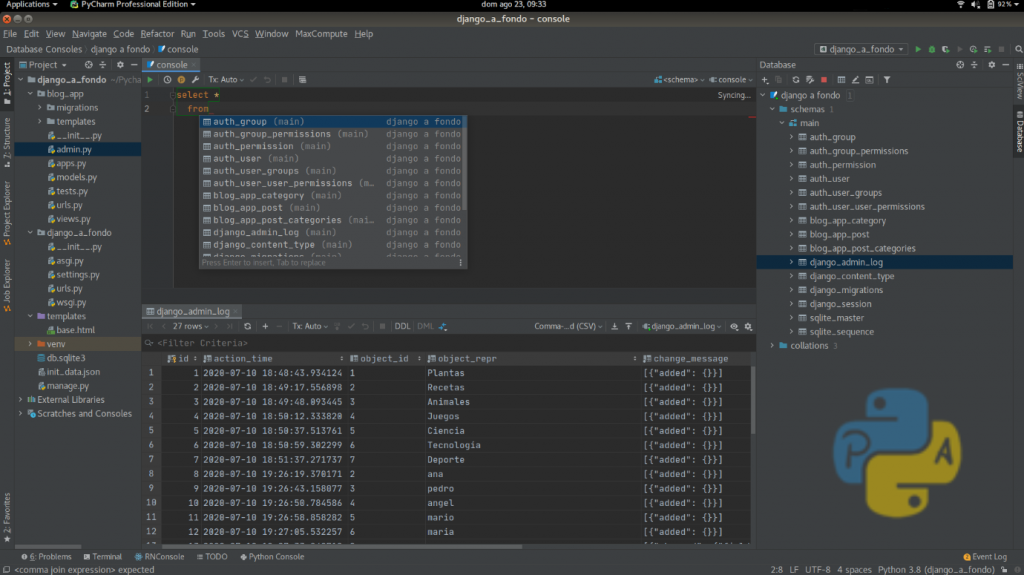 Databases Pycharm