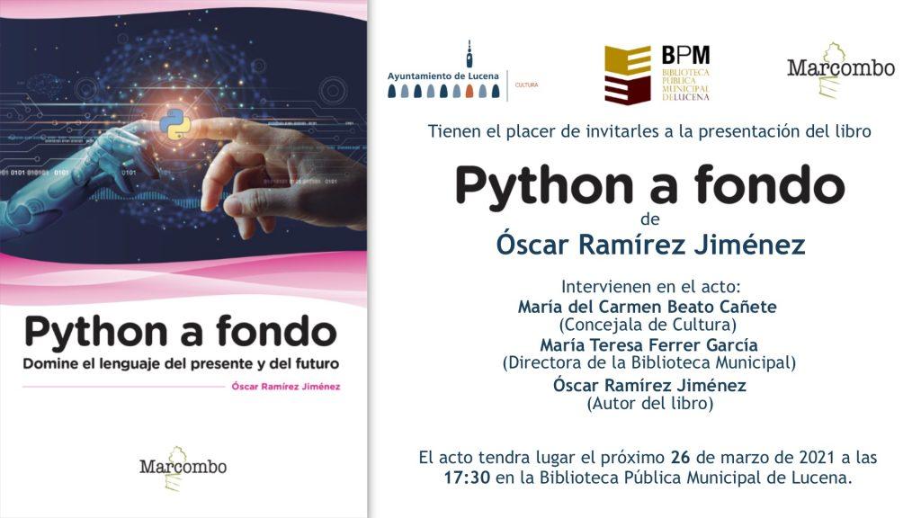 Invitación para la presentación de Python a fondo