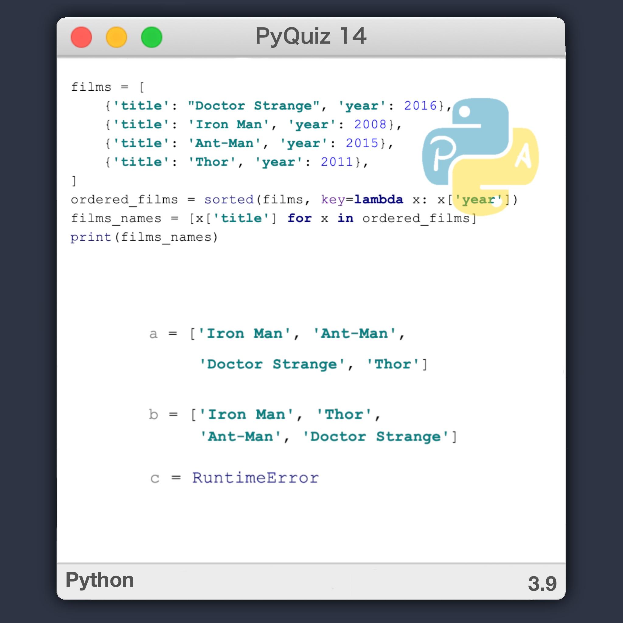 PyQuiz 14 - Sorted en Python